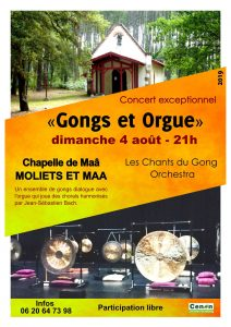 Concert Gongs et orgue Chapelle de Maâ