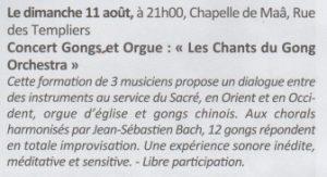 Concert Gongs et Orgue - Moliets et Maâ