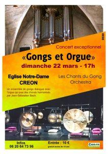 Concert Gongs et Orgue - Créon -  Les Chants du Gong Orchestra