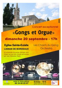 Les Chants du Gong Orchestra - concert Gongs et orgue - 20 septembre 2020 - Lignan de Bordeaux
